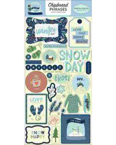 "Snow Much Fun 6"" x 13"" Chipboard Phrase Stickers - Carta Bella"