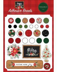 Happy Christmas Adhesive Brads - Carta Bella