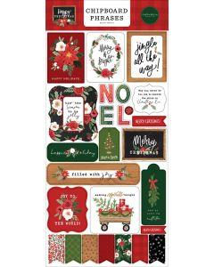 Happy Christmas Chipboard Phrases - Carta Bella