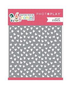 Hearts Stencil - Crafting With My Gnomies - Becky Moore - PhotoPlay