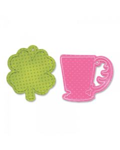 Cup & Clover Tag - Bigz Die w/ Textured Impressions Folder - Sizzix - Clearance