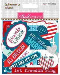 Fireworks & Freedom Ephemera Words