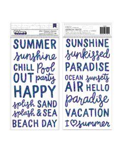 Oh Summer Blue Foam Glitter Stickers