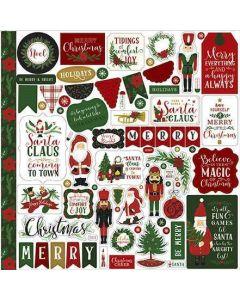 Here Comes Santa Claus Element Stickers - Echo Park