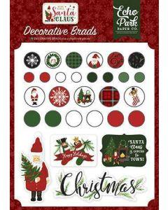Here Comes Santa Claus Decorative Brads - Echo Park