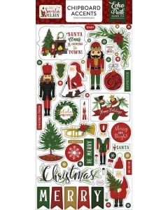 """Here Comes Santa Claus 6"""" x 13"""" Chipboard Accent Stickers - Echo Park"""