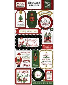 "Here Comes Santa Claus 6"" x 13"" Chipboard Phrase Stickers - Echo Park"