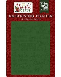 Christmas Cheer Embossing Folder - Here Comes Santa Claus - Echo Park