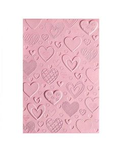 Hearts 3-D Textured Impressions Embossing Folder -Courtney Chilson - Sizzix