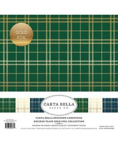 Carta Bella Paper - Merry Holiday Plaid Gold Foil Collection - 12 x 12 Collection Kit