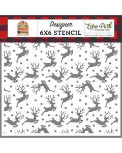 Flying Reindeer Stencil - My Favorite Christmas - Echo Park