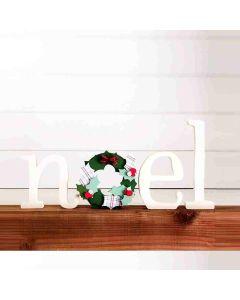 Noel w/ Wreath Unfinished Wood Craft - Foundations Decor