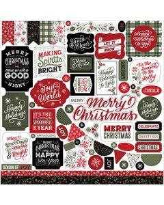 Salutations Christmas Element Stickers - Echo Park