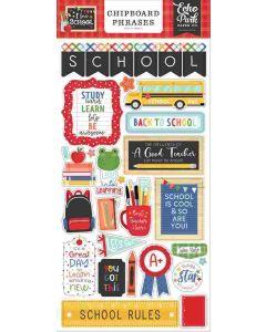 I Love School Chipboard Phrases - Echo Park