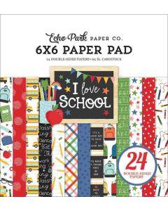 """I Love School 6"""" x 6"""" Paper Pad - Echo Park"""