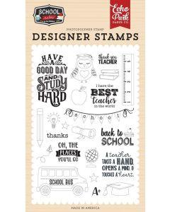 Study Hard Stamp Set - School Rules - Echo Park*
