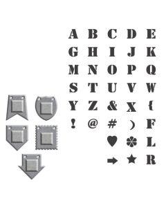 Alpha Bits Dies & Stamps - Donna Salazar - Spellbinders - Clearance