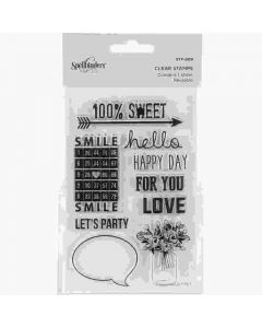 100% Sweet Sentiments Clear Acrylic Stamps - Spellbinders