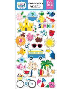 "I Love Summer 6"" x 13"" Chipboard Accent Stickers - Echo Park"