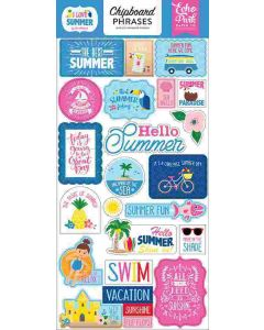 """I Love Summer 6"""" x 13"""" Chipboard Phrases Stickers - Echo Park"""