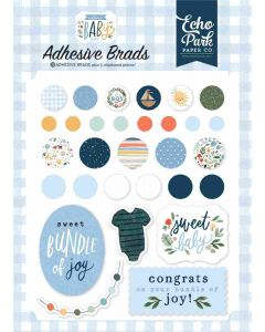 Welcome Baby Boy Adhesive Brads - Echo Park