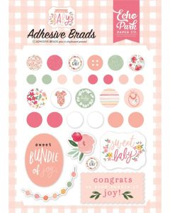 Welcome Baby Girl Adhesive Brads - Echo Park