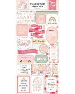 Welcome Baby Girl Chipboard Phrases - Echo Park