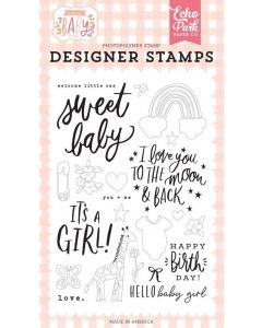Welcome Little One Stamps - Welcome Baby Girl - Echo Park
