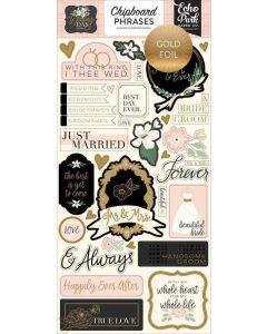 """Wedding Day 6"""" x 13"""" Chipboard Phrase Stickers - Jen Allyson - Echo Park"""