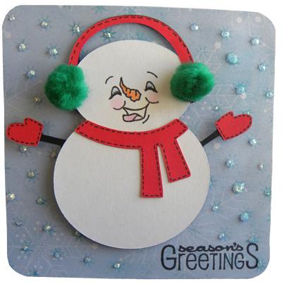 cricut winter frolic snowman card