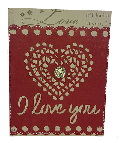 simple holiday cartridge made this I love you card