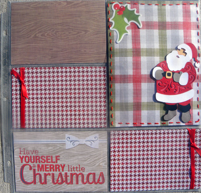 a quilted christmas layout santa