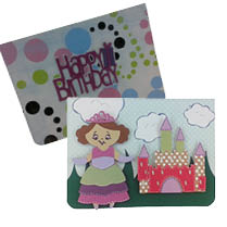 princess card made by cricut ribbons and rosettes