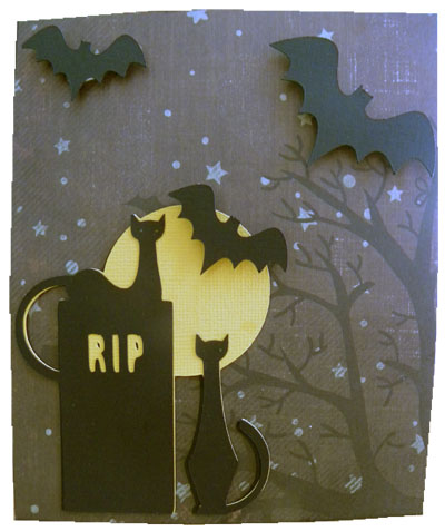 RIP cat card made with Cricut a frightful affair