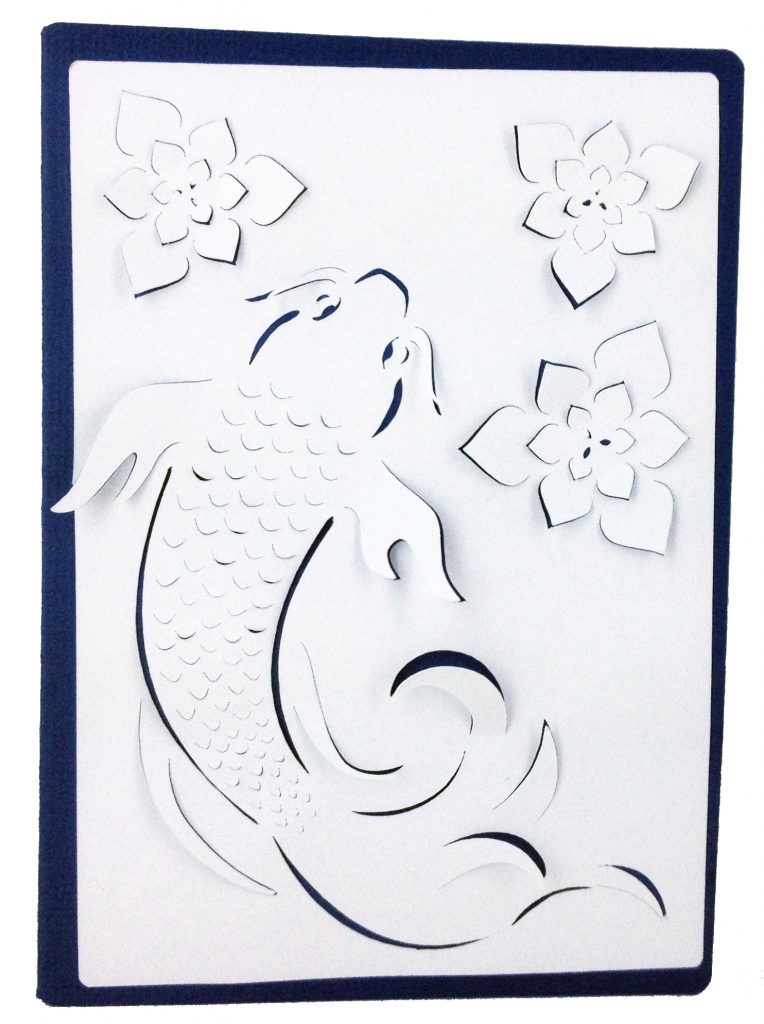 koi card made with dimensional paper art cartridge
