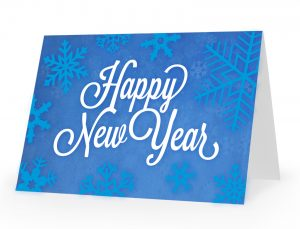 happy new year snow card design concept