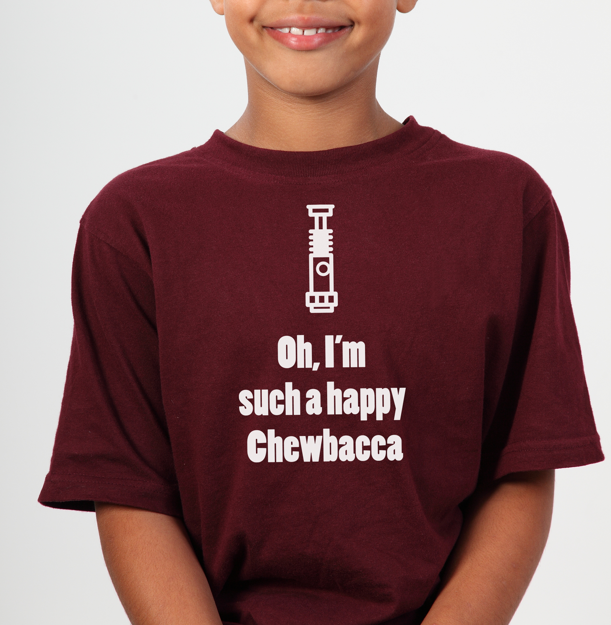 happy chewbacca t-shirt design concept