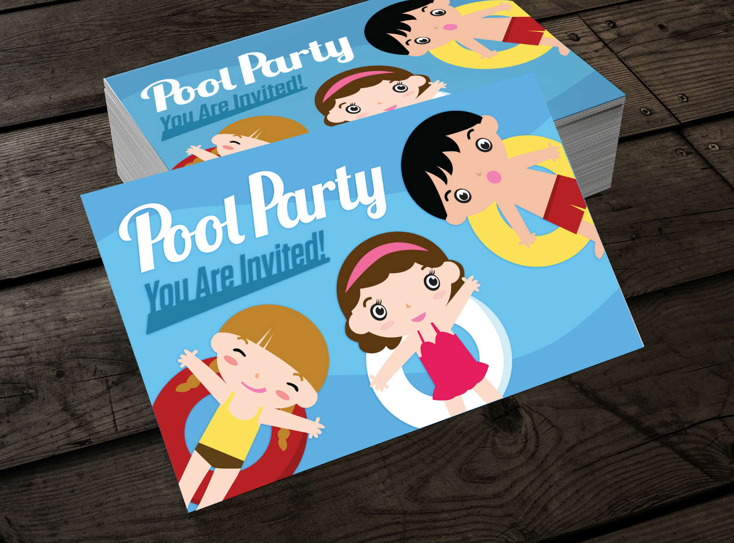 pool party card design concept july 2016