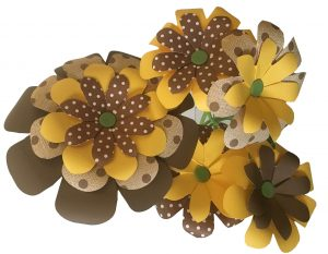 flowers created by envelope punch board