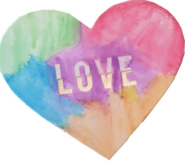 watercolor heart project