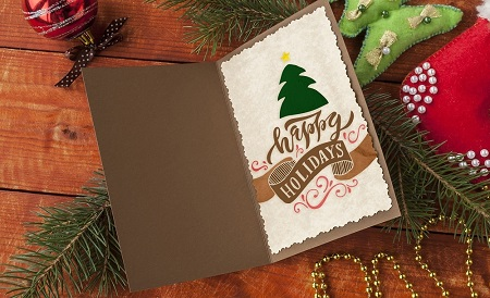 Happy Holidays Tree Card - Free Download Example