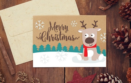 Merry Christmas Reindeer Card - Free Download Example