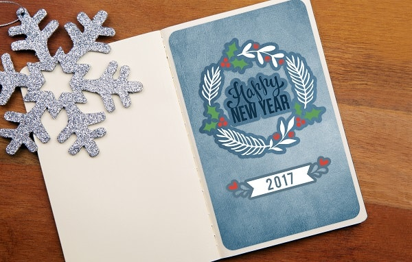 happy new year 2017 card design concept