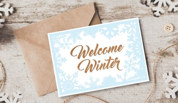 welcome winter card design concept