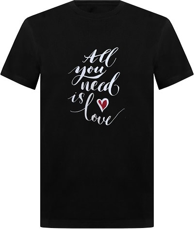 t-shirt design all you need is love