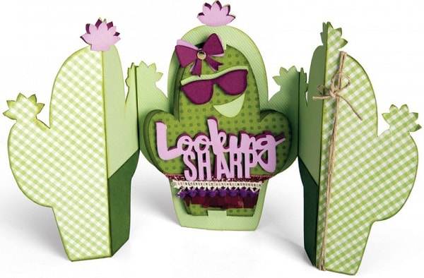 completed sizzix cactus fold-a-long card
