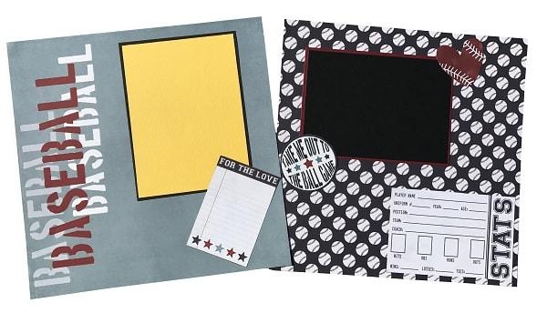 completed baseball scrapbook layout design