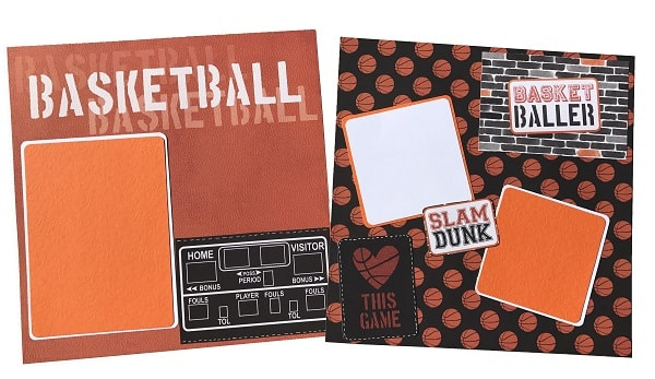 completed basketball scrapbook layout design
