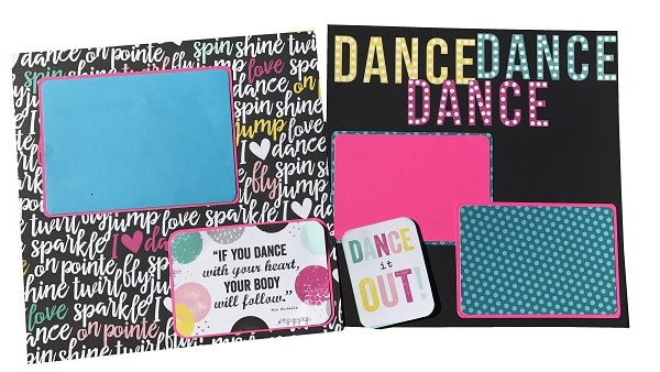 completed dance scrapbook layout design