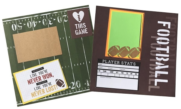 completed football scrapbook layout design